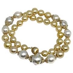 Diamond Sapphire South Sea Pearl 14 Karat Necklace Certified
