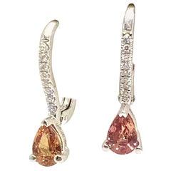 Diamond Sapphire Stud Earrings 18k White Gold 0.95 TCW Certified