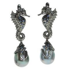 Diamond Sapphire Tahiti Pearl 18 Karat Black Gold Seahorse Earrings