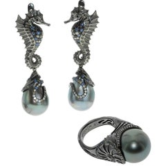 Diamond Sapphire Tahiti Pearl 18 Karat Black Gold Seahorse Suite