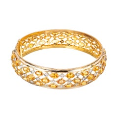 Diamond Sapphire Three-Row Yellow Gold Hinged Bangle Bracelet