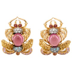 Diamond, Sapphire, Topaz, Tourmaline and Zircon Scarab Earrings