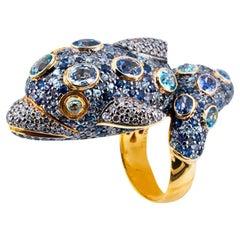 Olympus Art Certified Diamond, Sapphire, Tsavorite, Natural Zircon Dolphin Ring