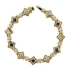 Diamond Sapphire Two-Tone Gold Geometric Bracelet