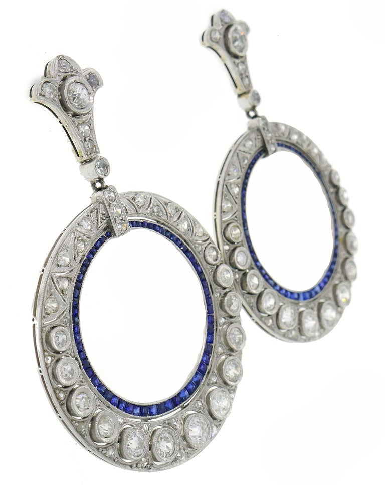 Women's Diamond Sapphire White Gold Dangle Earrings, Art Deco 1930s For Sale