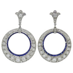 Diamond Sapphire White Gold Dangle Earrings, Art Deco 1930s