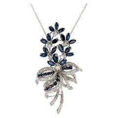 Diamond Sapphire White Gold Pendant Necklace