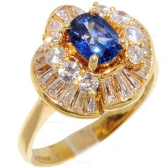 Diamond Sapphire Yellow Gold Cocktail Ring