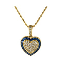 Diamond Sapphire Yellow Gold Heart Shaped Pendant Necklace