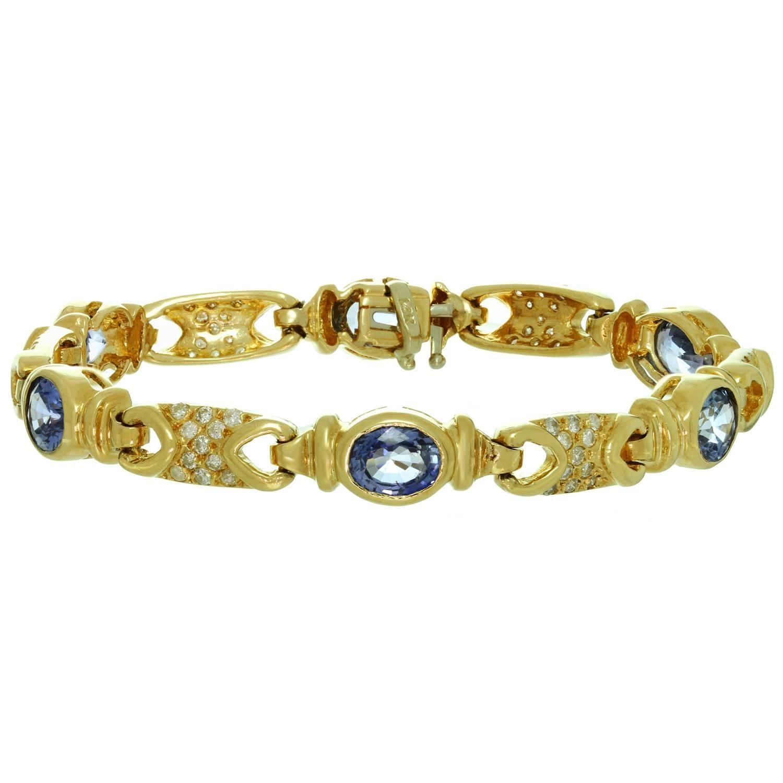 Diamond Sapphire Yellow Gold Link Bracelet