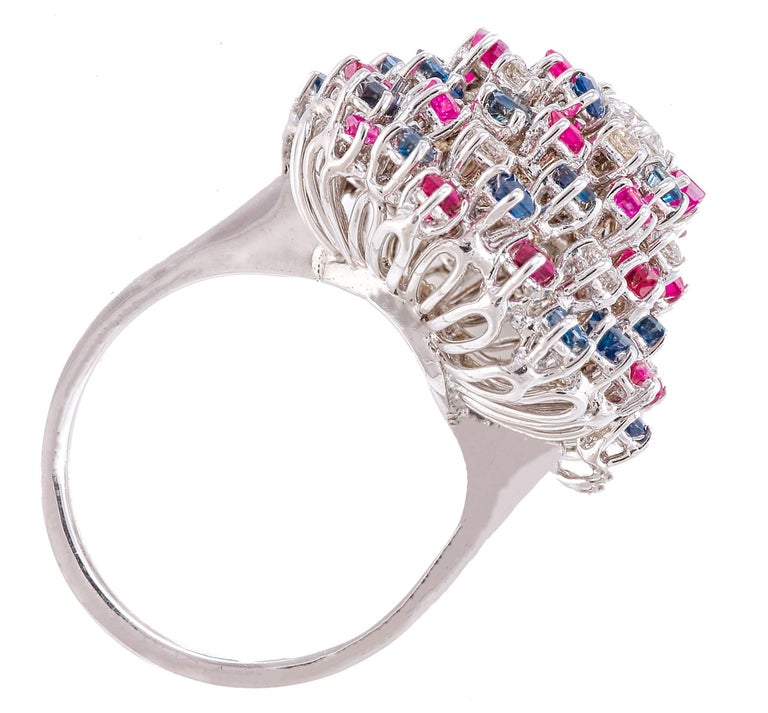 Retro Diamond Sapphires Rubyes White Gold Ring For Sale