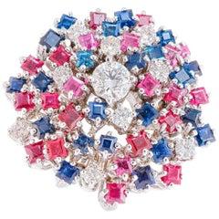 Diamond Sapphires Rubyes White Gold Ring