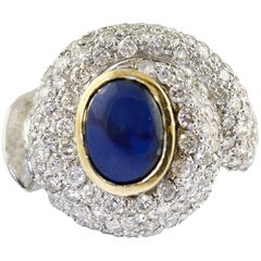 Diamond Sapphires White Gold Ring
