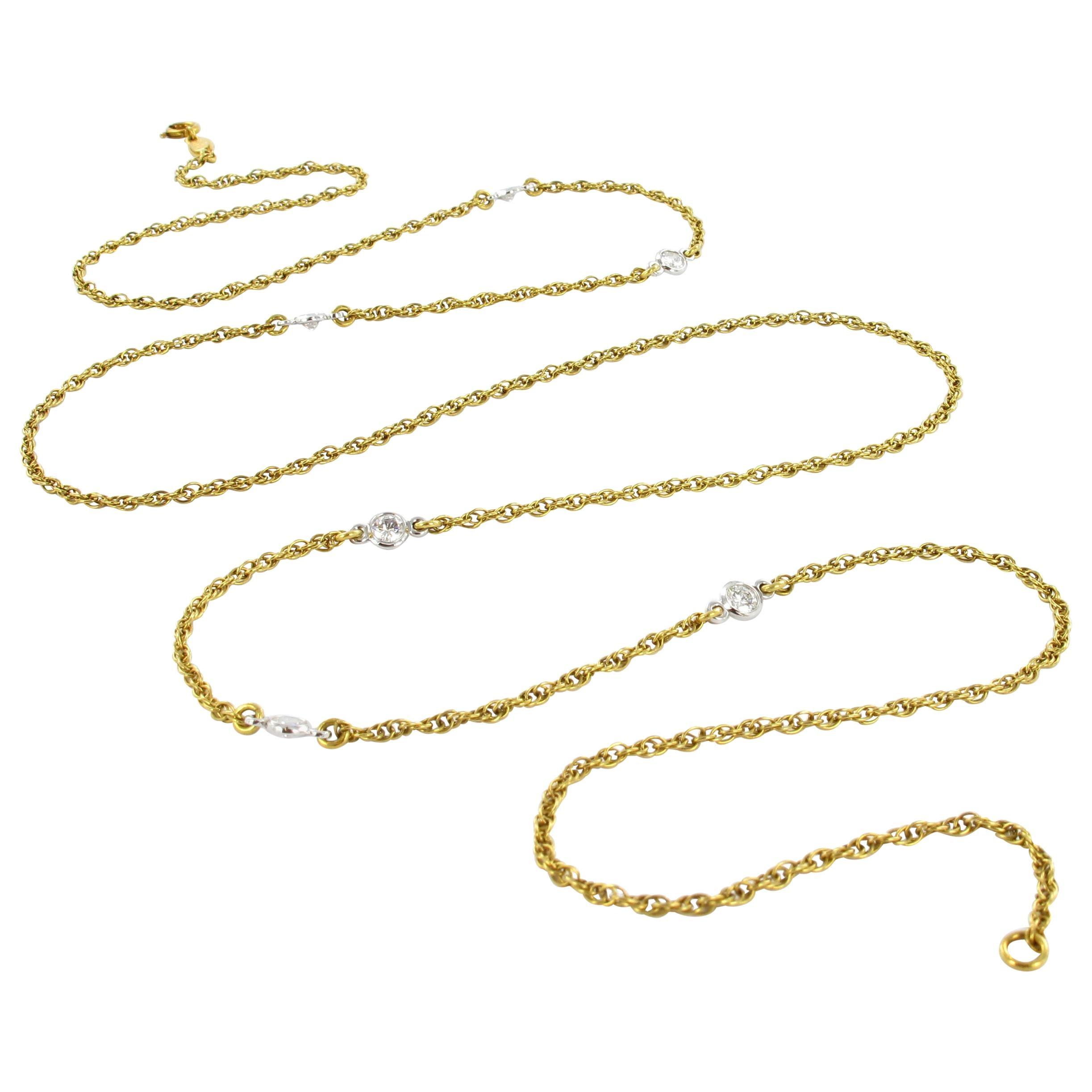 Diamond Sautoir in Yellow and White Gold 750
