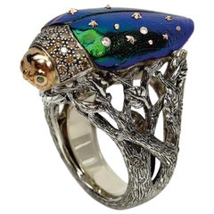 Diamond Scarab Stars Ring in Sterling Silver 18 Karat Gold Amethyst and Sapphire