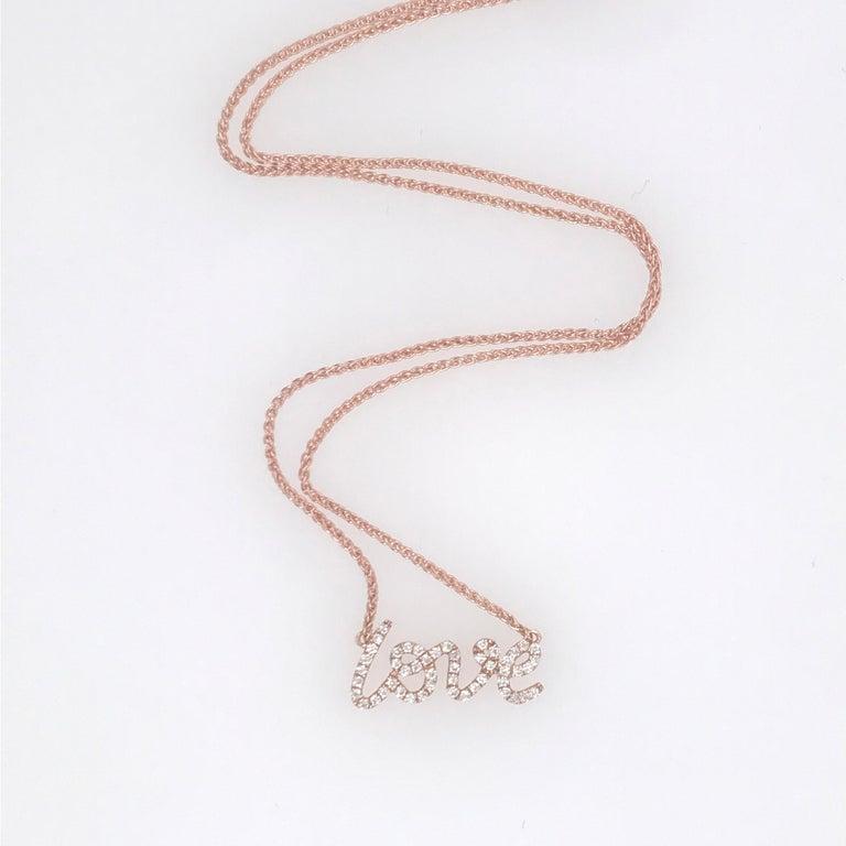 Contemporary Diamond Script LOVE Pendant Necklace 0.16 Carat 18 Karat For Sale