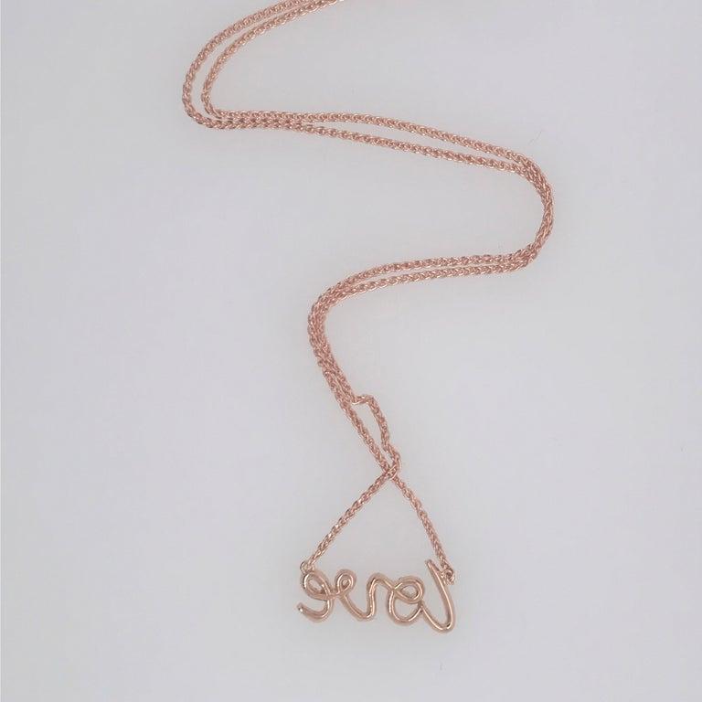 Round Cut Diamond Script LOVE Pendant Necklace 0.16 Carat 18 Karat For Sale