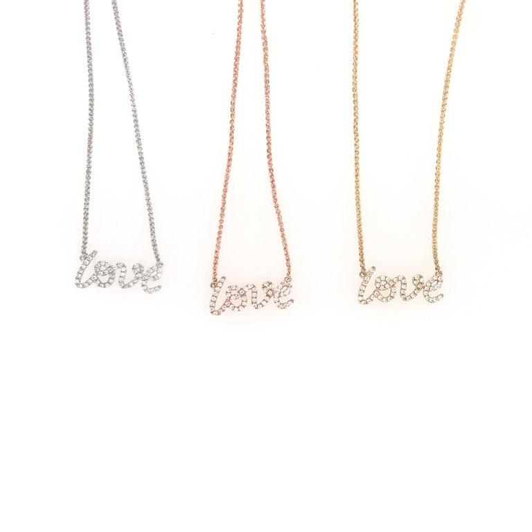 Diamond Script LOVE Pendant Necklace 0.16 Carat 18 Karat In New Condition For Sale In New York, NY