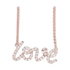 Diamond Script LOVE Pendant Necklace 0.16 Carat 18 Karat