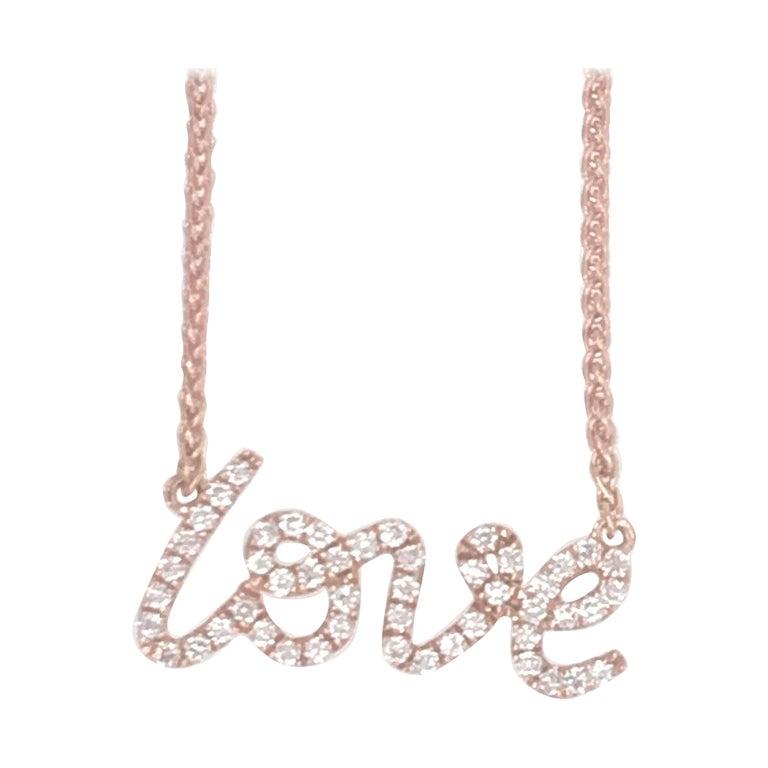 Diamond Script LOVE Pendant Necklace 0.16 Carat 18 Karat For Sale