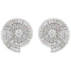 Diamond Seashell Stud Earrings 2.35 Carat