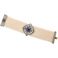 Diamond Seed Mesh Pearl Tanzanite Sterling Bracelet