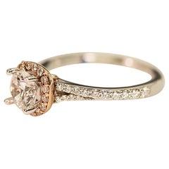 Diamond Semi Mount Engagement Bridal Ring 14 Karat Rose and White Gold .53 Carat