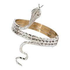 Diamond Serpent Bangle with Ruby Eyes, 750 White Gold Snake