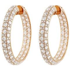 Diamond Set 18 Karat Rose Gold Hoop Earrings