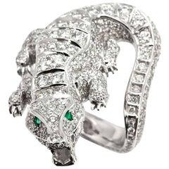 Diamond Set Alligator Dress Ring in Platinum 5.75 Carats
