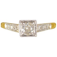 Diamond Set Art Deco Square Faced Solitaire Ring in Platinum & 18ct Yellow Gold