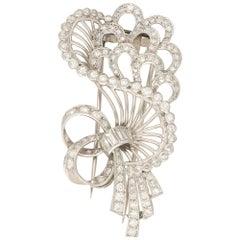 Diamond Set Bow Bouquet Brooch in Platinum 2.52 Carat