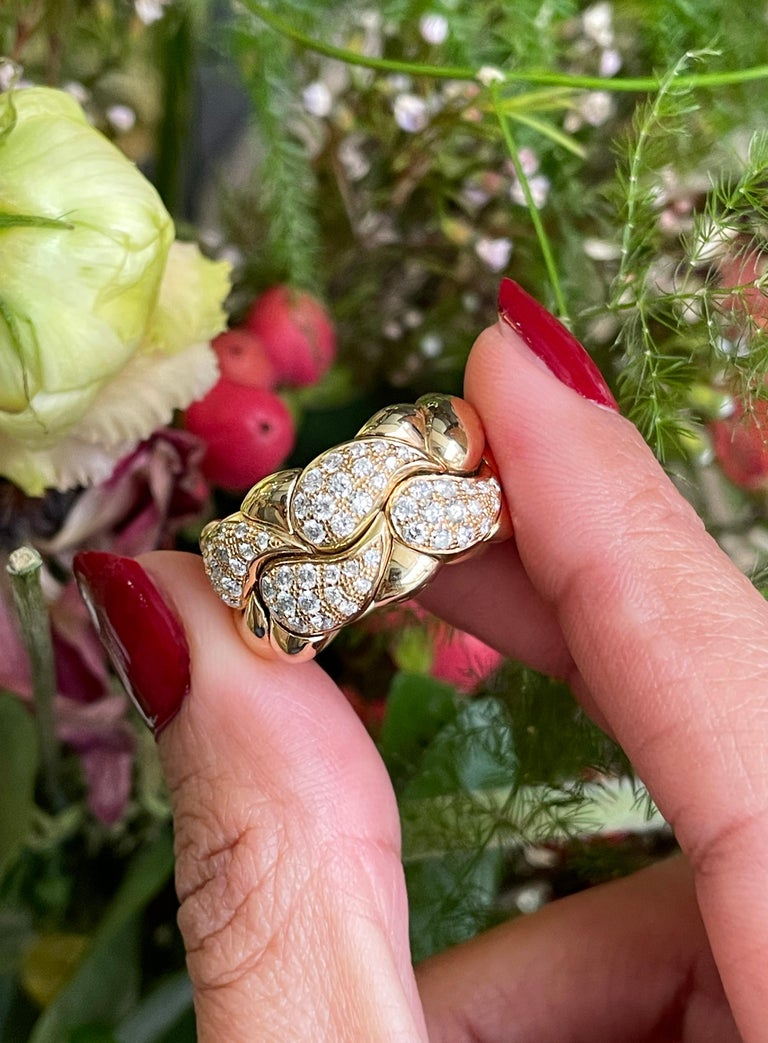 Diamond Set Chopard Casmir 18 Carat Gold Dress Ring In Excellent Condition For Sale In London, GB