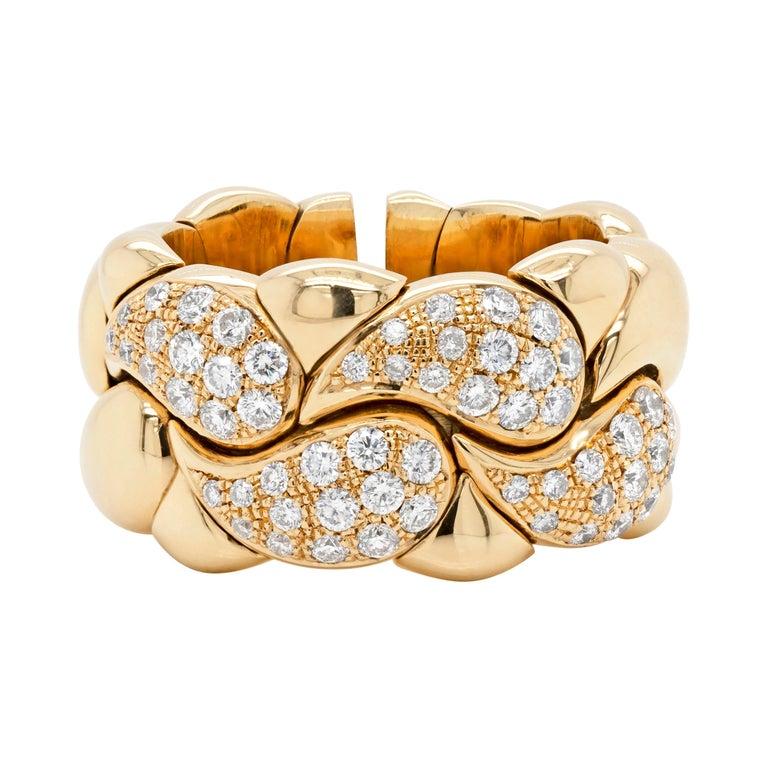 Diamond Set Chopard Casmir 18 Carat Gold Dress Ring For Sale