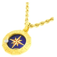 Diamond-Set Enamel Zodiac Pendant