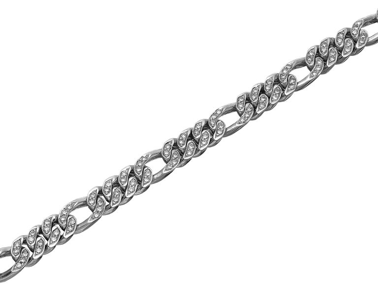 Gents Round Diamond Figaro Curb Link Chain Bracelet in Heavy Solid White Gold For Sale 1