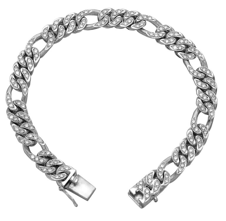 Gents Round Diamond Figaro Curb Link Chain Bracelet in Heavy Solid White Gold For Sale
