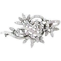 Diamond Set Foliate 18-Carat White Gold Brooch