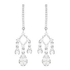 Diamond Set Gold Chandelier Earrings