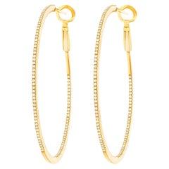 Diamond Set Gold Hoop Earrings