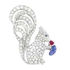 Diamond Set Gold Squirrel Brooch