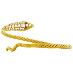 Diamond Set High Karat Gold Snake Bracelet