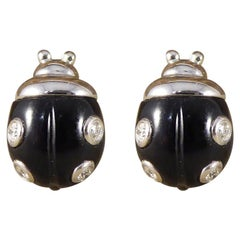 Diamond Set Lady Bird Earrings in Black Enamel 18 Carat White Gold