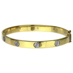 Diamond Set Love Bangle, Screw Motif in Bimetal 18 Carat White and Yellow Gold
