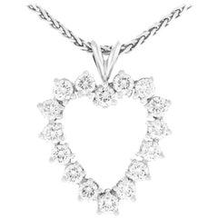 Diamond Set Platinum Heart Pendant