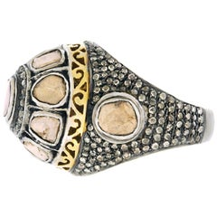 Diamond Set Silver and Gold Ring