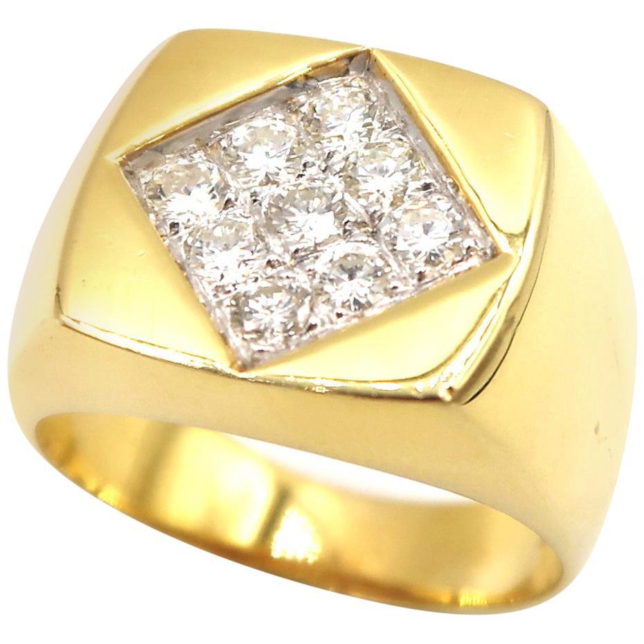 Diamond-Set Square 18 Karat Yellow Gold Men's Signet Ring