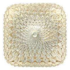 Diamond Shaped Amber Glass Flush Mount Ceiling Light Massive Leuchten, Germany