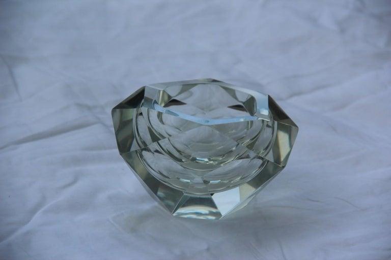 Diamond shaped ashtray shining Italy design 1960s transparent glass.