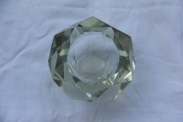 Mid-Century Modern Diamond Shaped Ashtray Shining Italy Design 1960s Transparent Glass For Sale